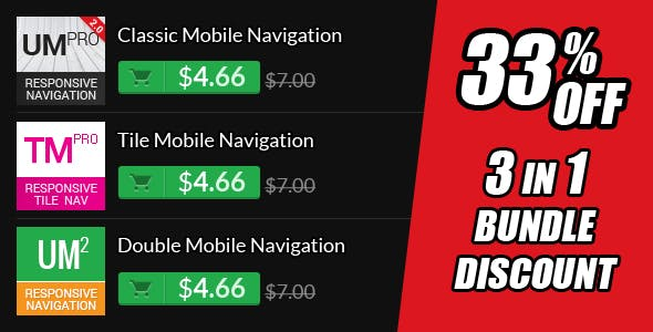 3 in 1 Responsive Nav Menu Bundle Pack
