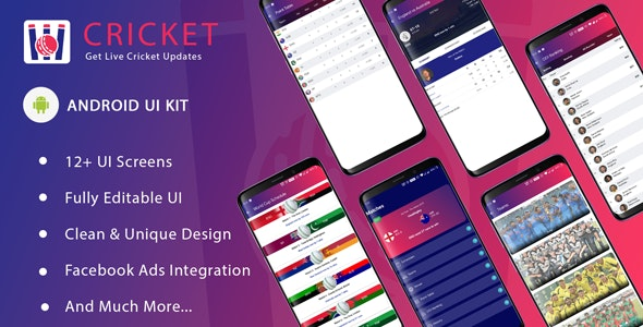 Cricket ui template for android app by iqonicdesign | CodeCanyon
