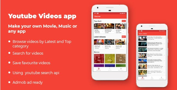 Android YouTube video app (HD, Top, Recent, Genre, My Videos, Search videos)