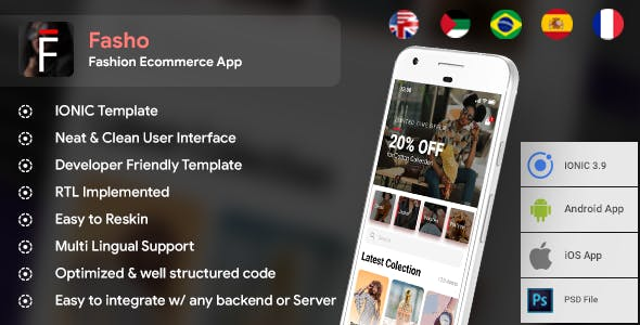 Fashion Ecommerce Android App + iOS App Template | Fasho (HTML+CSS files IONIC 3)
