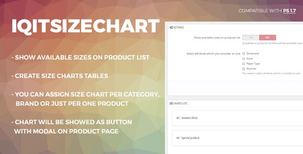 Flexible size guide(chart) & sizes on product list - CodeCanyon Item for Sale