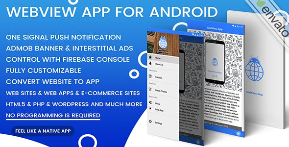 Webview App For Android - One Signal + Admob | Convert Website To App