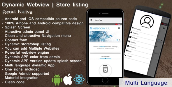 Dynamic Webview | Web2app | iOS | Android | React Native - CodeCanyon Item for Sale
