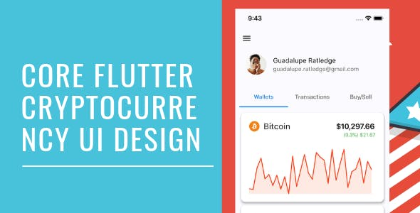 Core Flutter Cryptocurrency app UI