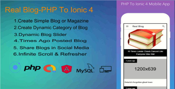 Real Blog- PHP To Ionic 4 Mobile App (Backend + FrontEnd)