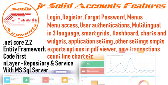 Jr Solid Accounts .net core MVC 2.2 | Accounts | Employee Management | Users in C#, Open Source