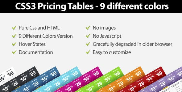 Css3 Pricing Tables - 9 Different Colors