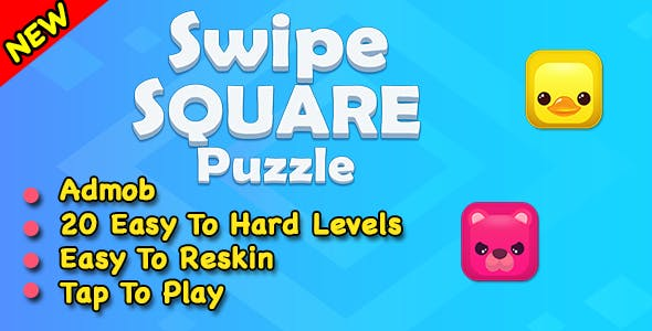 Swipe Square Puzzle Game + Ready For Publish + Android Studio