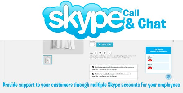 Prestashop Skype Call / Chat Button