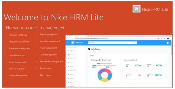Nice HRM Lite Asp.Net Core 2.2 Bootstrap 4