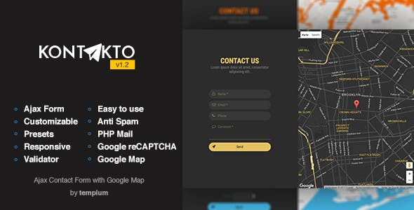KONTAKTO - Ajax Contact Form with Styled Map & reCAPTCHA