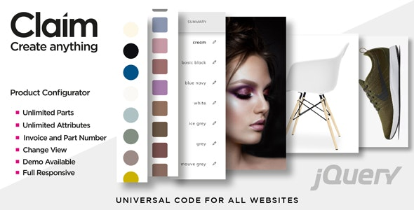 Claim - JQuery Multi-purpose Visual Product Configurator - CodeCanyon Item for Sale