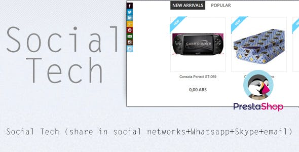 Social Tech / Share (social networks+SKype+Whatsapp) Prestashop Module
