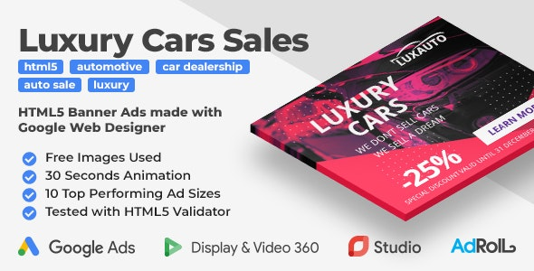 Luxauto - Luxury Cars Sales & Service HTML5 Banner Ad Templates (GWD)        Nulled