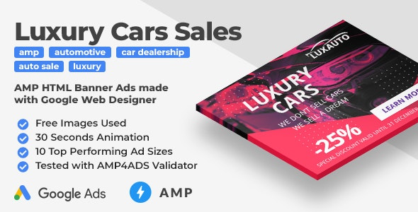 Luxauto - Luxury Cars Sales & Service Animated AMP HTML Banner Ad Templates (GWD, AMPHTML)        Nulled