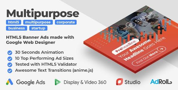 Startup - Multipurpose HTML5 Banner Ad Templates (GWD, anime.js)