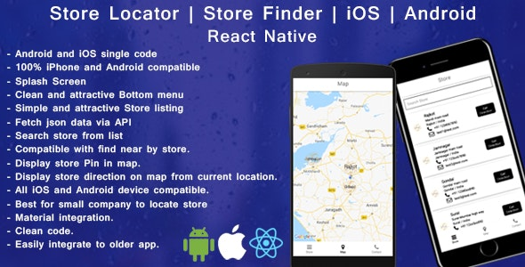 React native Store finder - Locator for iOS and android - CodeCanyon Item for Sale