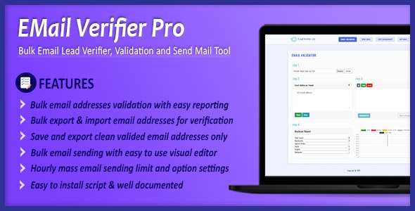 Email Verifier Pro - Bulk Email Addresses Validation, Mail Sender & Email Lead Management Tool - CodeCanyon Item for Sale