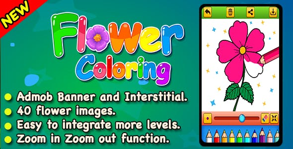 Top Kids Games Flower Coloring + Admob + Education + Ready For Publish