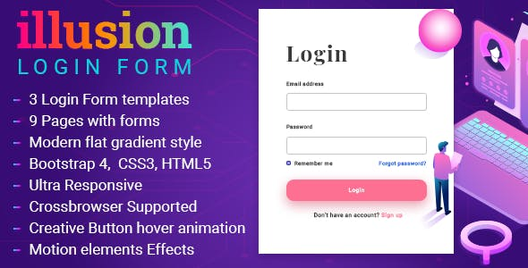 Illusion Modern Responsive Login Layouts