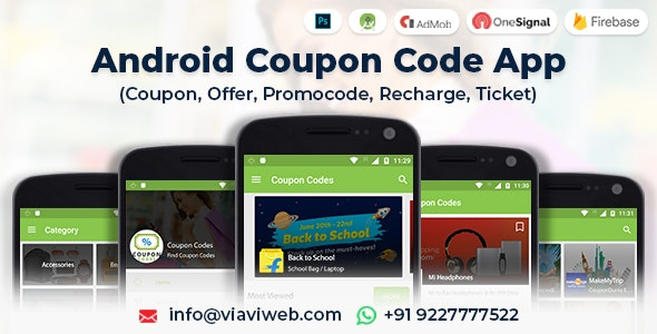 Android Coupon Code App (Coupon, Offer, Promocode, Recharge, Ticket) - CodeCanyon Item for Sale
