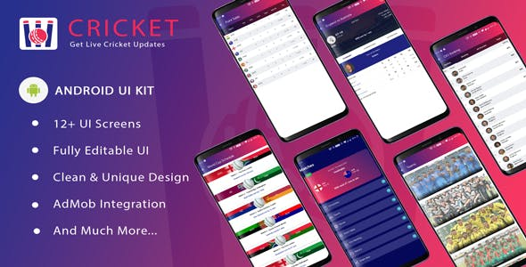 Cricket ui template for android app