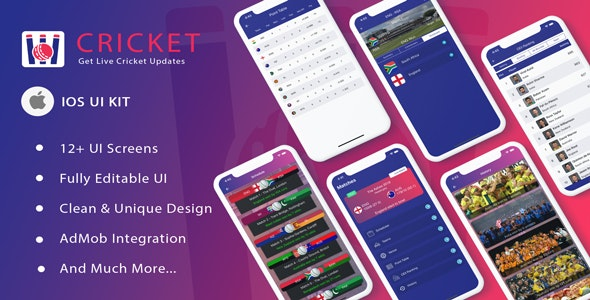 Cricket ui template for iOS app Swift 4.2 - CodeCanyon Item for Sale