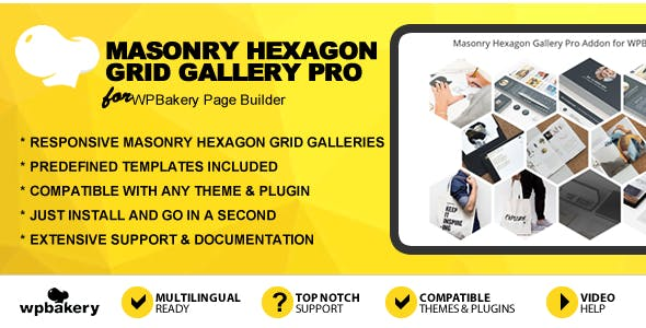 Masonry Hexagon Grid Gallery Pro Addon for WPBakery Page Builder