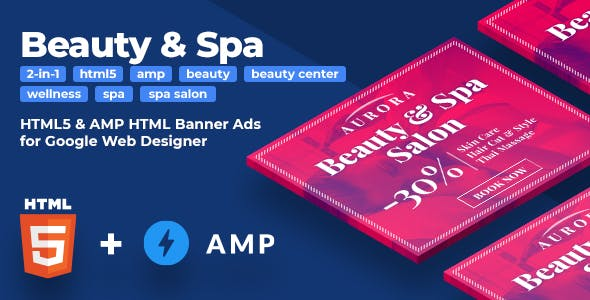 Aurora - Beauty & Spa HTML5 & AMPHTML Animated Banners (2-in-1)