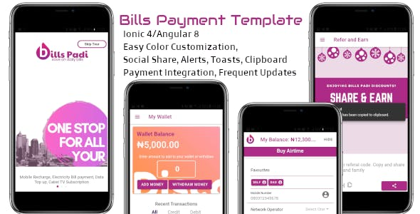 Bills Padi Mobile and Bills Payment Template