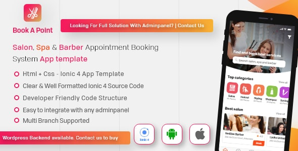Salon & Spa Barber Appointment Booking Android + iOS App Template IONIC 4 - Book A Point - CodeCanyon Item for Sale