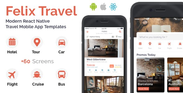Felix Travel - Complete React Native travel app template