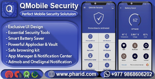 QMobile Security - Complete Mobile Solution | Battery Saver, App Locker, Vault, Wifi Security, etc - CodeCanyon Item for Sale