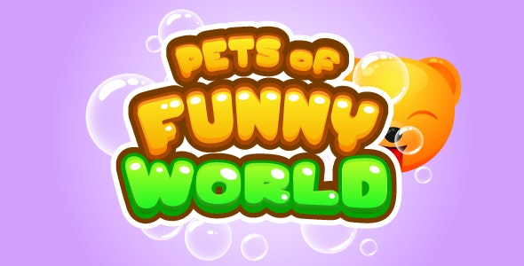 Pets Of Funny World - HMTL5 game, mobile, AdSense, AdMob possible - CodeCanyon Item for Sale