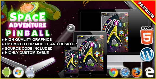 Pinball Space Adventure - HTML5 Arcade Game