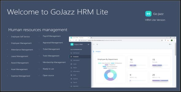 GoJazz HRM Lite Asp.Net Core 2.2 Bootstrap 4
