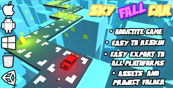 Sky Fall Car - HTML5 Game (HTML5 Build + Unity Project + Assets)