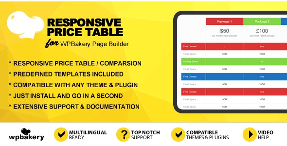 Responsive Price Table Addon for WPBakery Page Builder (formerly Visual Composer) - CodeCanyon Item for Sale