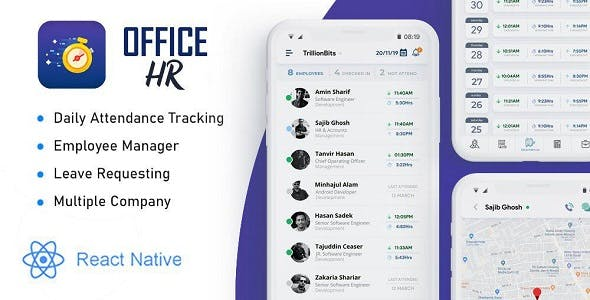 Office HR - Attendance, Employee Tracking , Leaves & Notice  Board: React Native Mobile App