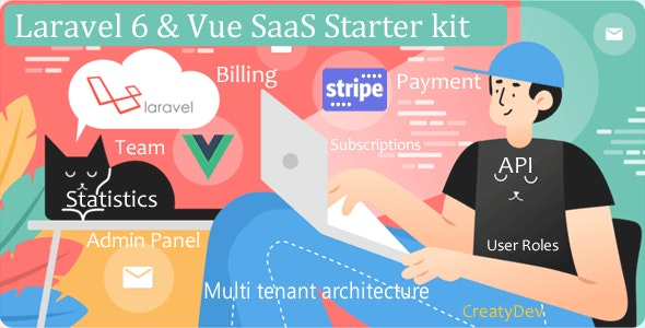 SaaSWeb, Laravel 6 & vue SaaS Starter kit - CodeCanyon Item for Sale