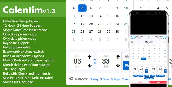 Calentim - Date Time Range Picker