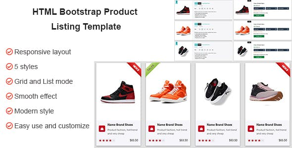 HTML CSS Product Listing Template