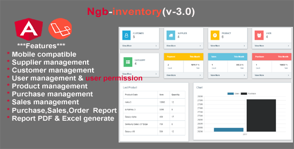 inventory angular 8 + laravel 5.6