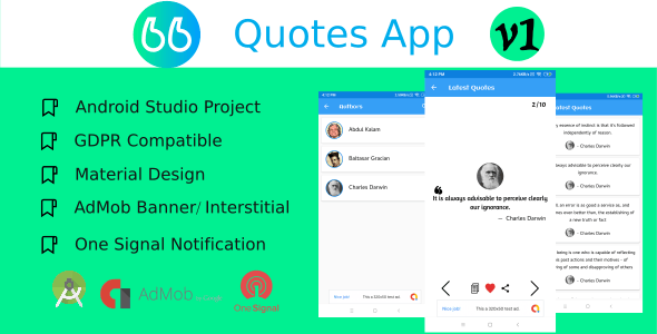 Quotes.me Quotes app with Online Backend