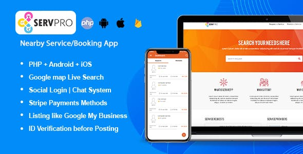 SERVPRO – Nearby Service Provider & Booking Finder App (Web + Android + iOS)