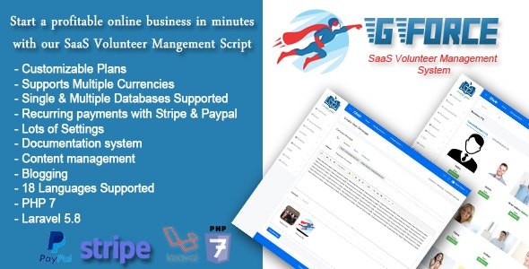 SaaS Volunter Management System - GForce - CodeCanyon Item for Sale