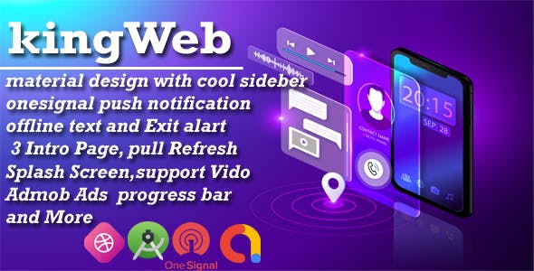 King WebView - Web2Apk with material design with cool sidebar onesignal push notification