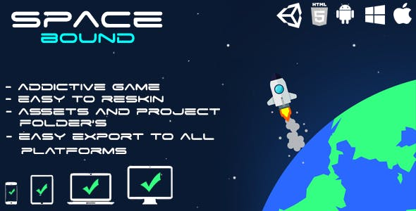 Space Bound - HTML5 Game (HTML5 Build + Unity Project + Assets)