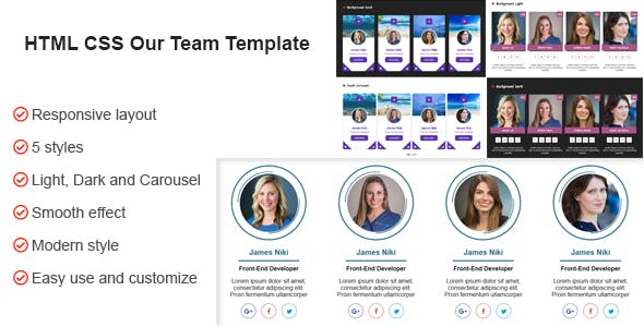HTML CSS Our Team Template
