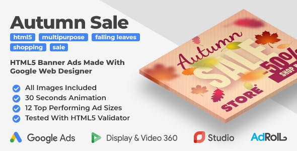 Autumn Sale - Shopping HTML5 Banner Ad Templates (GWD)